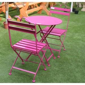 table de jardin rose