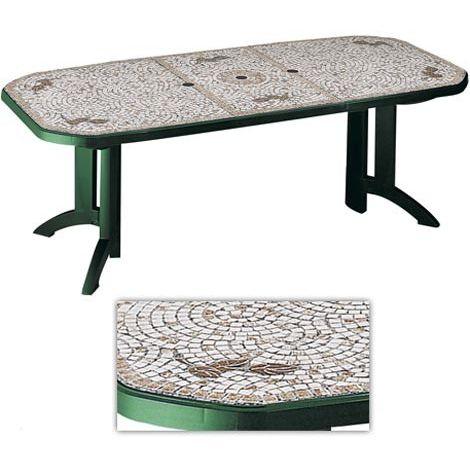 table de jardin vega 6 decor mozaic verte grosfillex